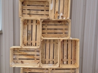 Rustic wood crate wall
