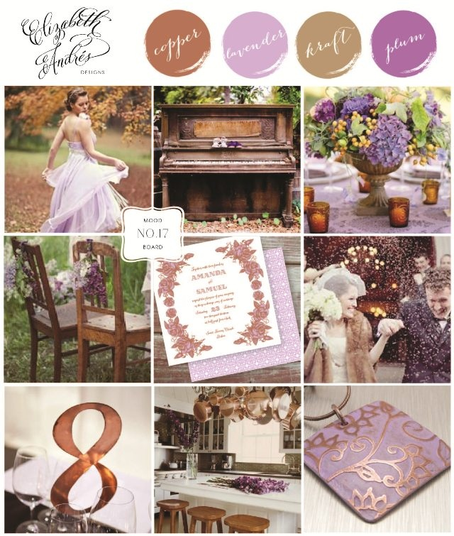 Wedding Inspiration Mood Board # 17 {Copper and Lavender} by Elizabeth Andres Designs in Dubai.
