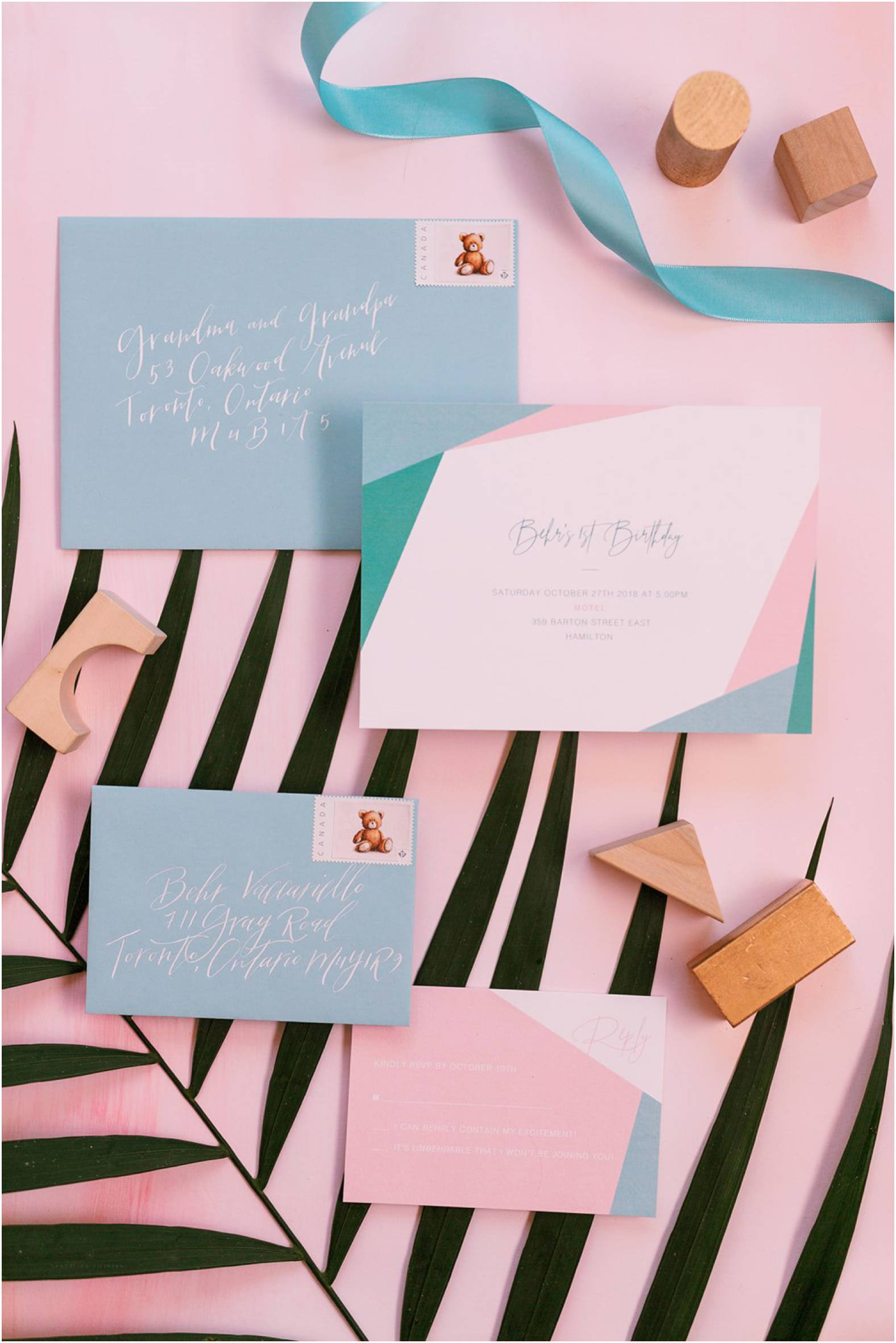 Midcentury modern inspired invitation suite