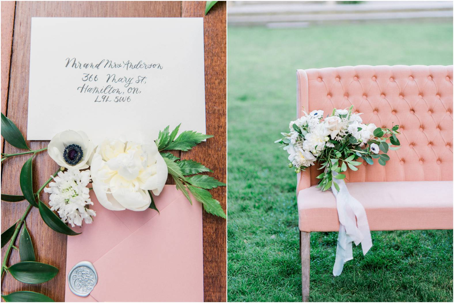 Calligraphy invitation set with anemone and loose neutral wedding bouquet styled on pink blush linen sofa