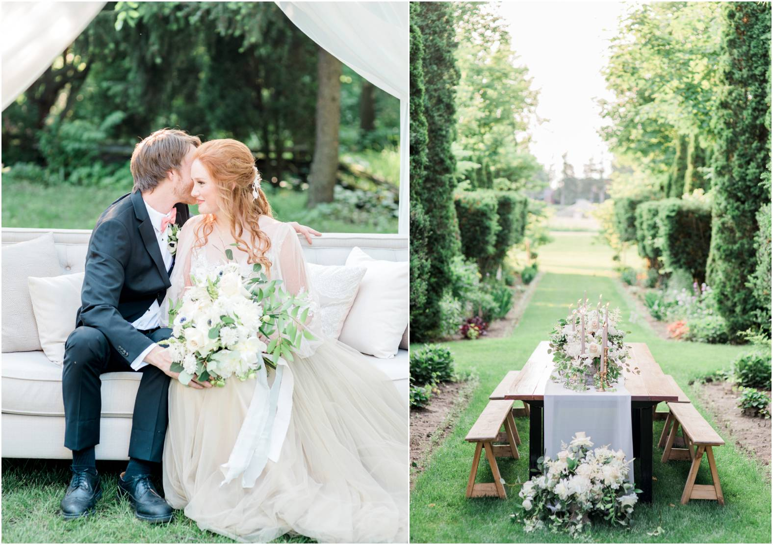 bride and groom cuddle on linen sofa during intimate garden wedding at cranberry creek gardens