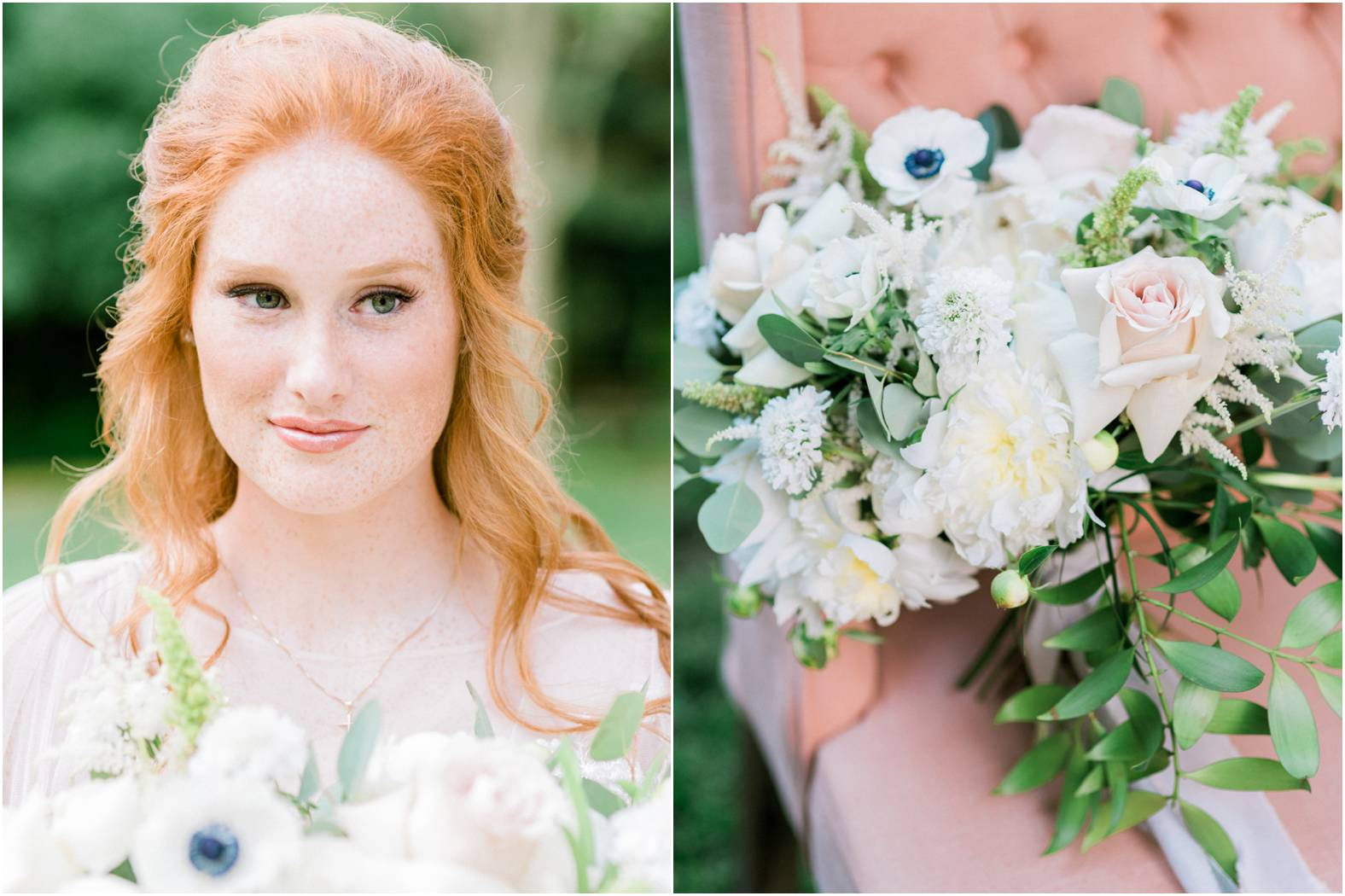 Bride with beautiful auburn hair and anemone bouquet with greenery and neutral blooms