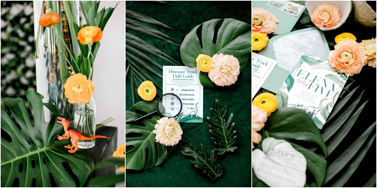 DIY dinosaur party tropical foliage and summer blooms floral inspiration