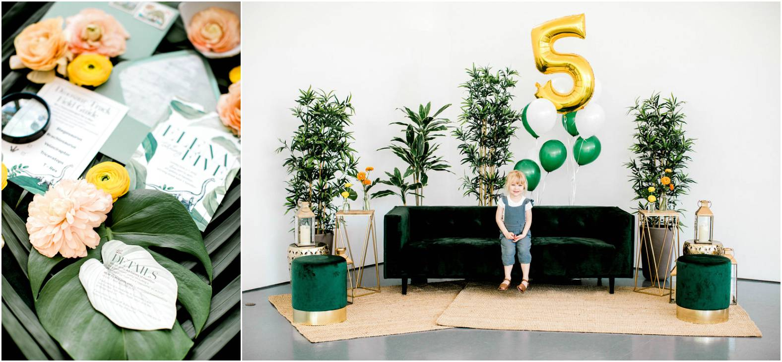 DIY dinosaur birthday party with emerald green velvet lounge pieces and brightly coloured rananculus