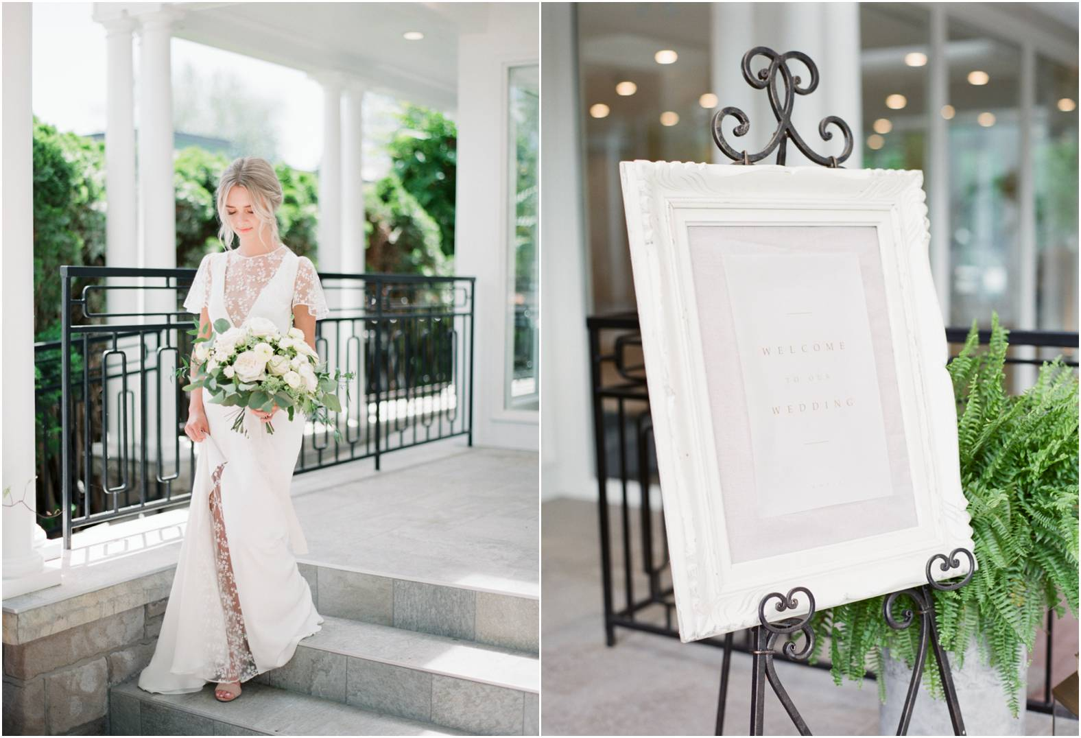 Bride wearing lace dress holds a neutral bouquet as she walks down the steps of her garden wedding at The Gate house, Niagara on the Lake