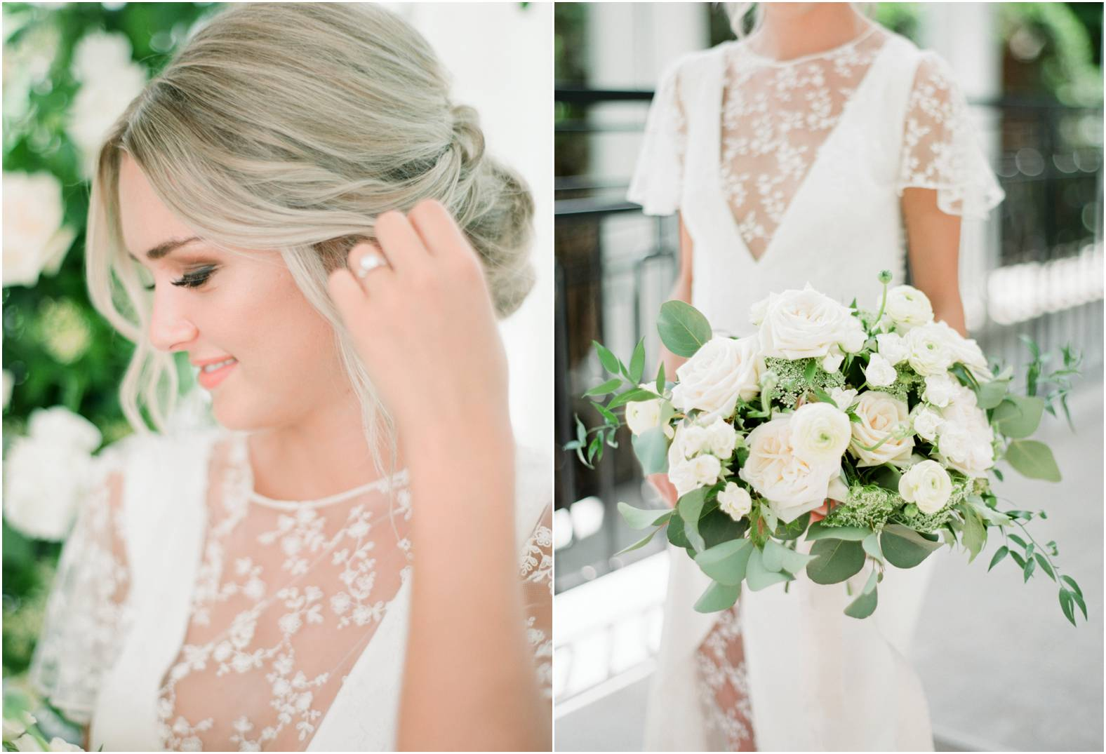 Bride with classic low bun updo holds a large luxury bouquet of neutral blooms and greenery for her garden wedding at The Gate House in Niagara on the Lake