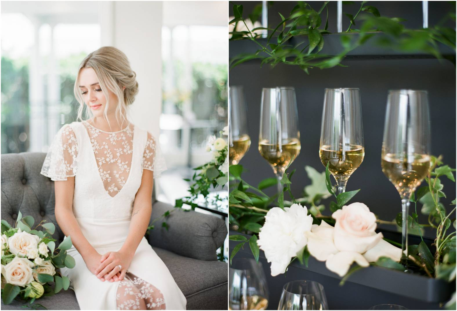 Bride wearing a custom lace gown sits on a grey sofa in a custom lounge during her wedding at The Gate House