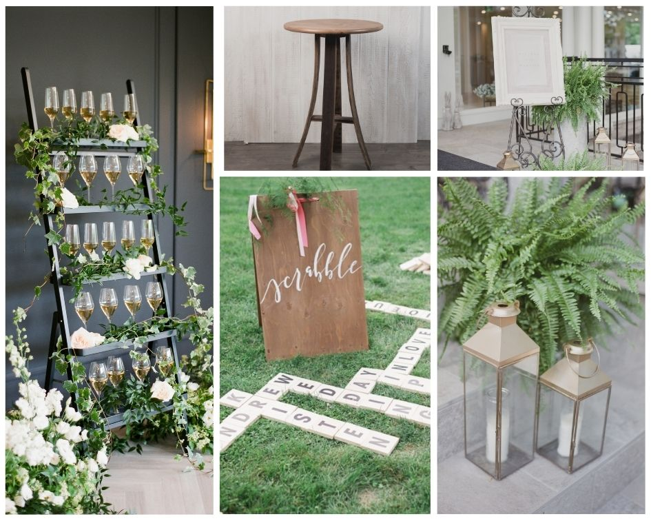 Champagne cocktails ladder and lawn game rentals wedding niagara