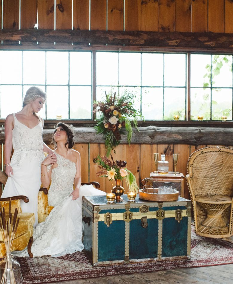 Golden boho lounge with a bride and bride