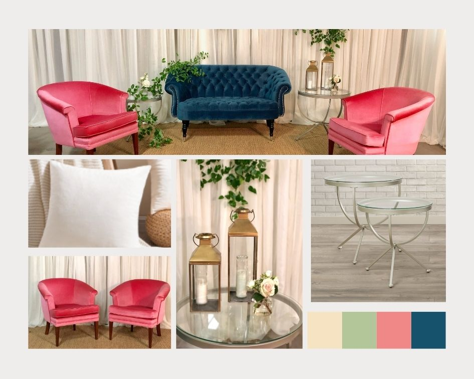 Melon pink and blue wedding lounge rental Niagara