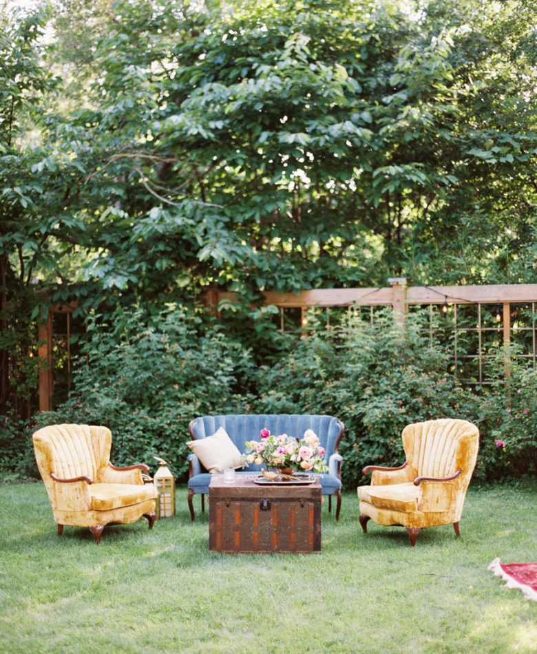 Backyard party with cocktail lounge furniture