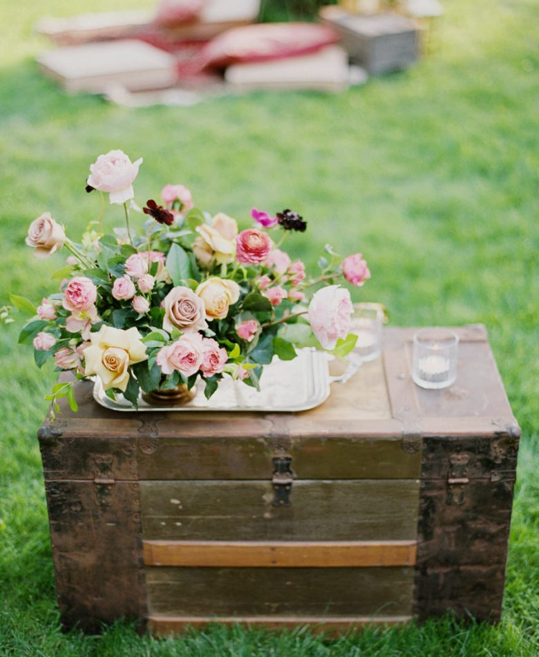 Backyard party with a vintage trunk