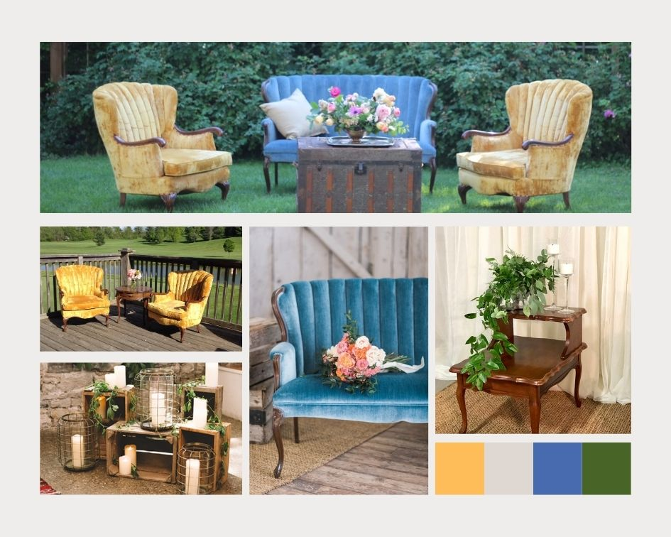 Blue and gold wedding lounge rental in Niagara