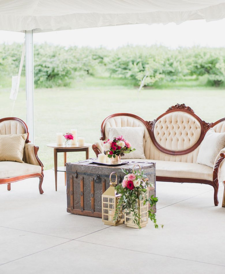 A lounge with ivory settee's