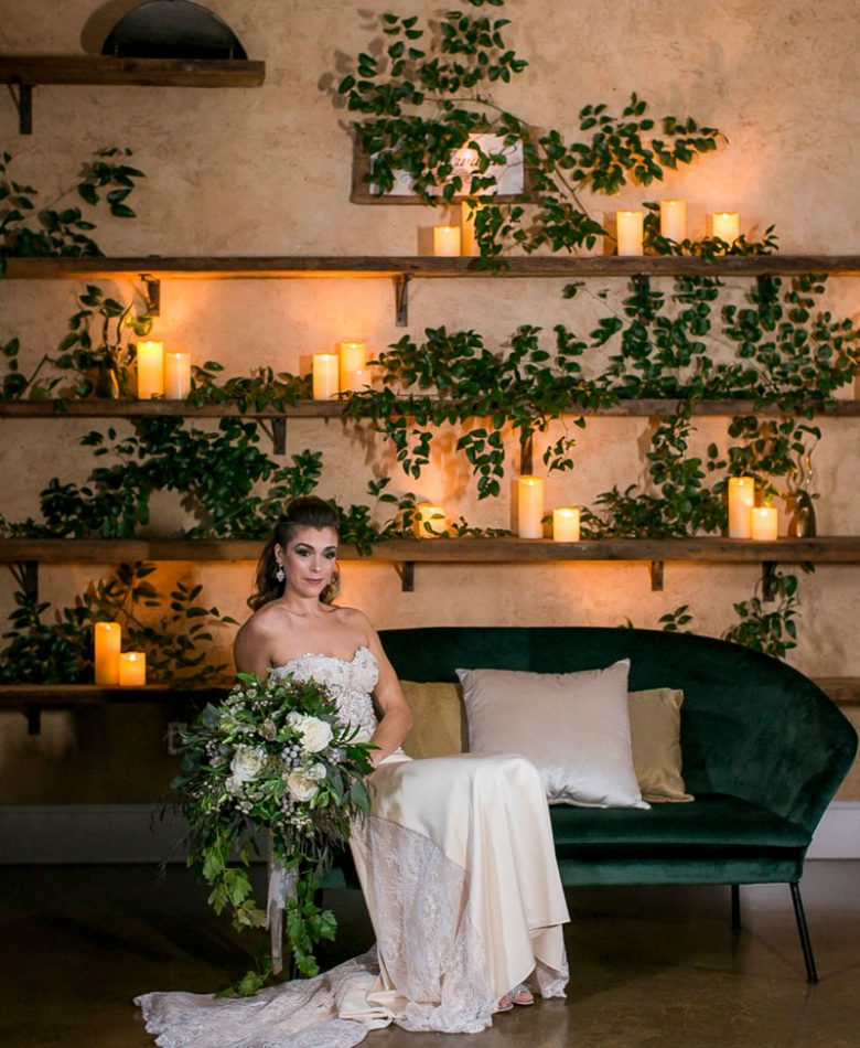 A candlelit wedding green lounge in Niagara