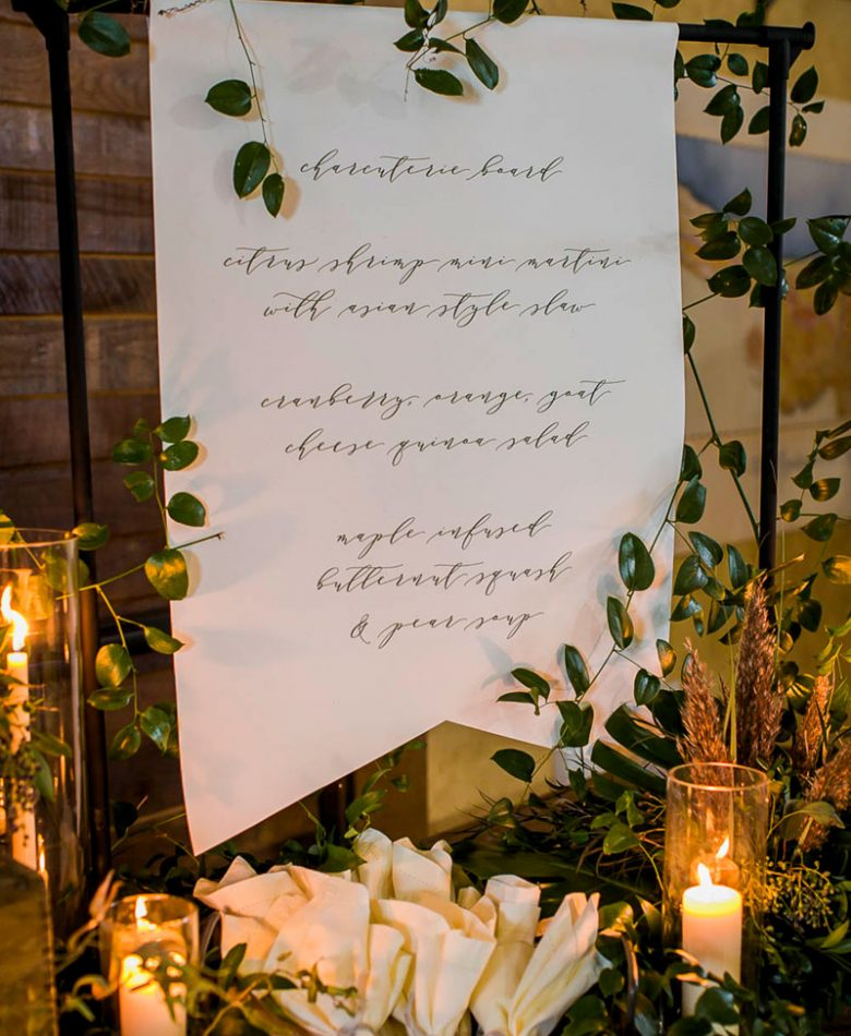 A candlelit wedding industrial frame that is displaying the menu