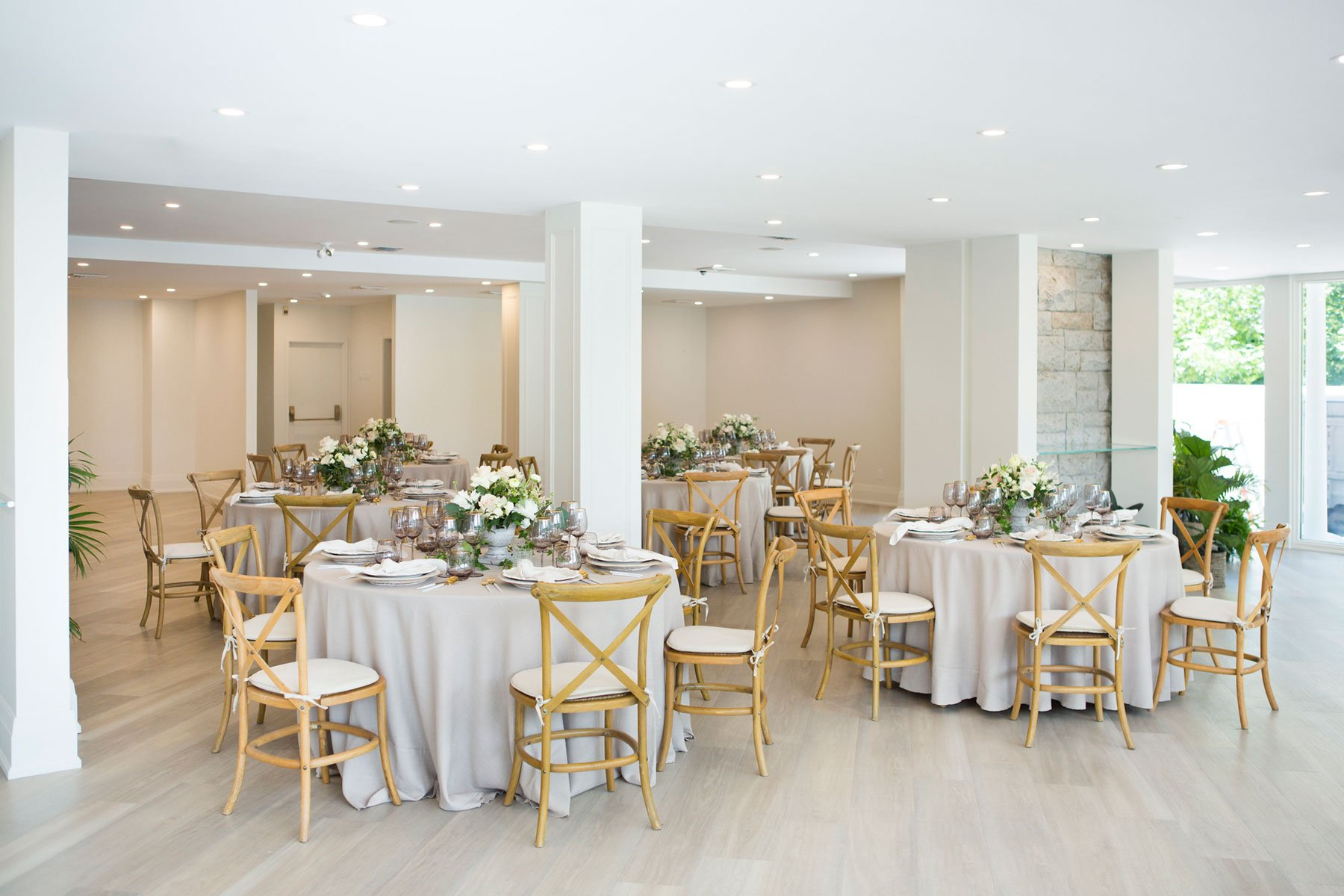 Classic white wedding theme reception with simple candles