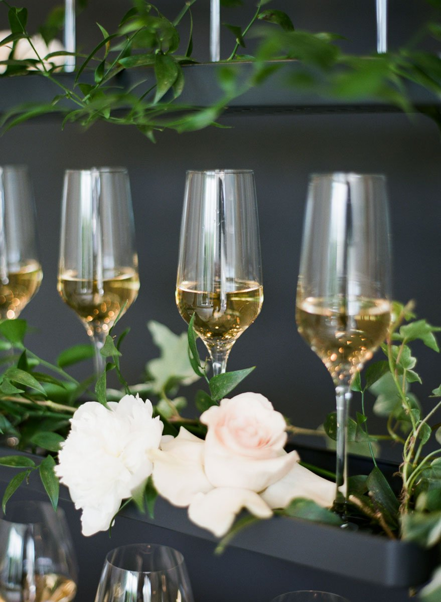 Classic white wedding theme champagne wall