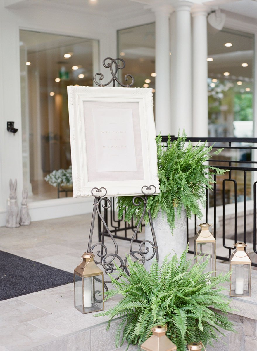 Classic white wedding welcome sign