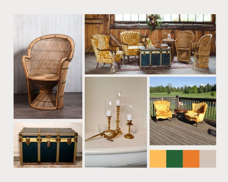 Golden boho wedding lounge rental Niagara