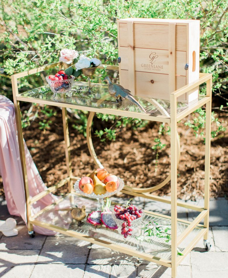 Intimate brunch wedding with a gold bar cart outdoors and blush decor accents.