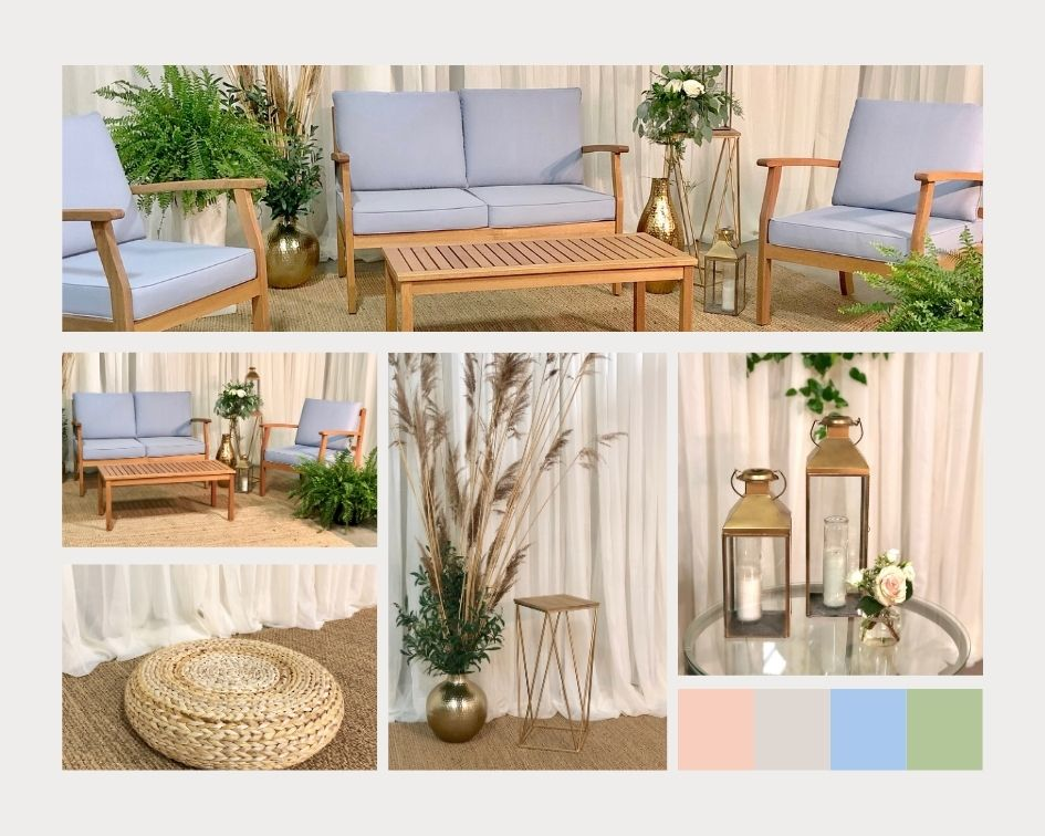 Soft blue wedding lounge rental Niagara