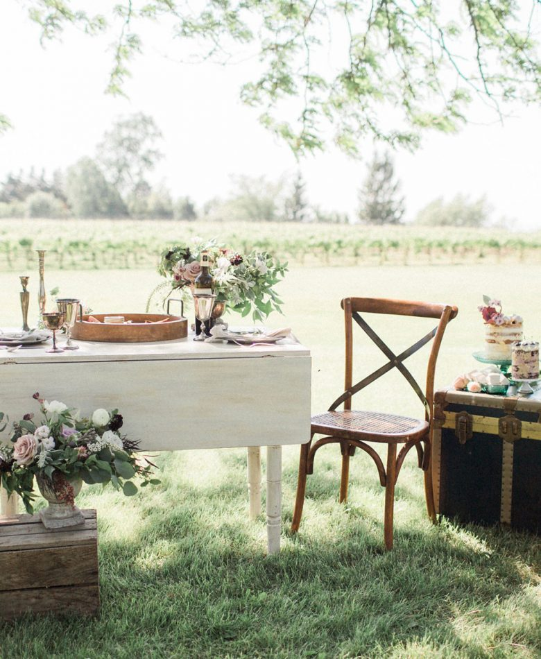 Picnic setup in a winery