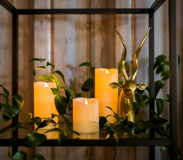 A candlelit wedding ceremony with battery operated candles